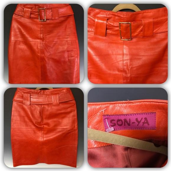 SONYA Dresses & Skirts - SONYA Orange Leather Skirt